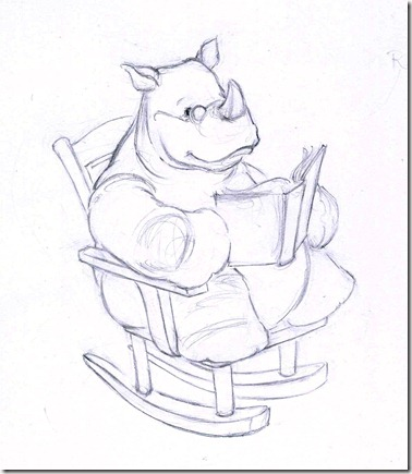 Rhino Reading in a Rocking Chair